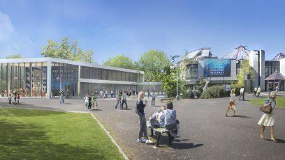 Außenansicht Aquazoo mit neuem Ergänzungsbau - Visualisierung ProjektSchmiede GmbH